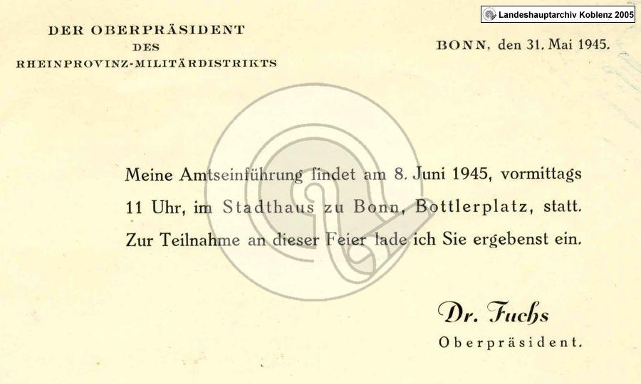 landesarchivverwaltung | 24.05.1945, Einladung